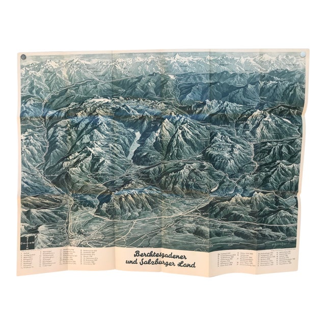 Map Of Germany For Sale.Vintage Map Of German Mountains