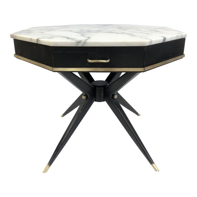 1950s Italian Marble Top Center Table For Sale