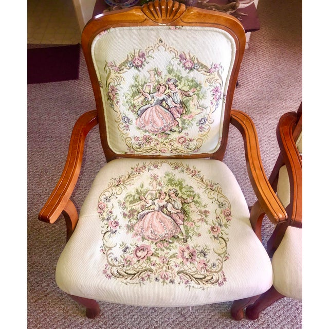 Boho Chic French Provincial Tapestry Salon Chairs - A Pair For Sale - Image 3 of 13