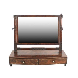 19th C. Georgian Bow Front Burlwood Dressing Mirror For Sale