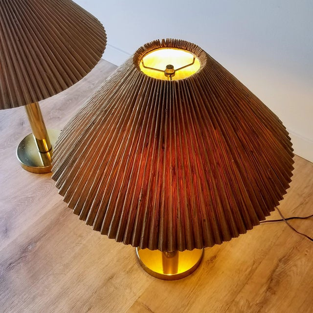 Mid-Century Brass Table Lamps With Original Shades - a Pair For Sale In Seattle - Image 6 of 13