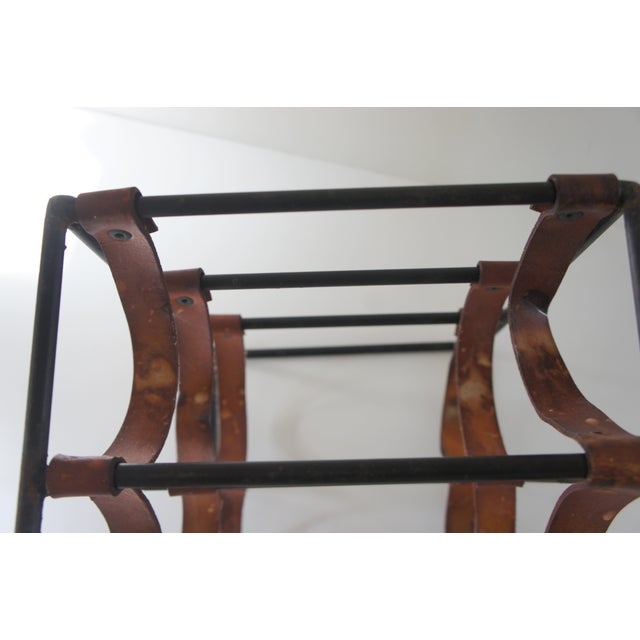 Mid-Century Modern Arthur Umanoff Sculptural Wrought Iron and Leather Wine Rack For Sale In Washington DC - Image 6 of 13