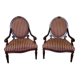 Pair Lane Venture Excursions Collections Mahogany Colored French Style Living Room Armchairs