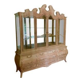 Monumental Swedish Gustavian Style Light Wood China Cabinet For Sale