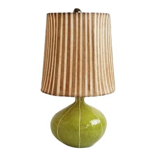 Moss Green Handmade Ceramic Table Lamp and Striped Shade For Sale