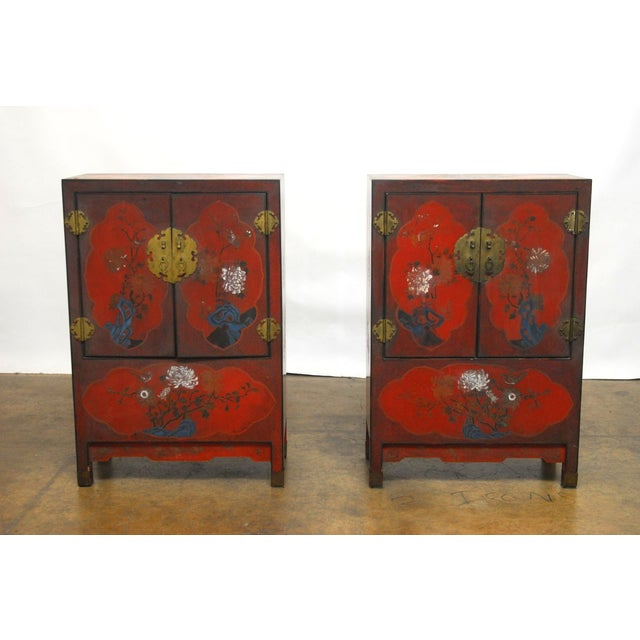 Red Chinese Polychrome Cabinets - A Pair - Image 2 of 8