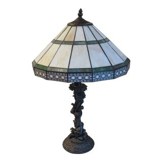 Stained Slag Glass Mission Craftsman Style Arts and Crafts Table Lamp with Flower Design Base For Sale