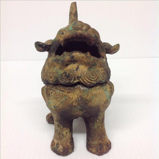 Asian Vintage Japanese Patinated Foo Dog Incense Burner For Sale - Image 3 of 8