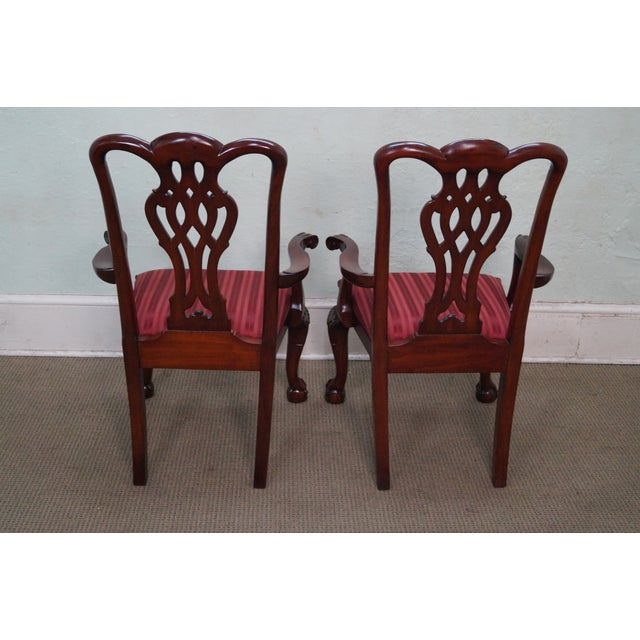 Maitland Smith Mahogany Chippendale Arm Chairs - 2 - Image 4 of 10