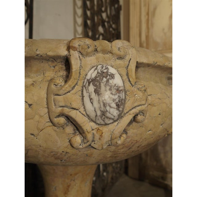 Rare Pair of Carved Italian Marble Stoups, Giallo Reale For Sale - Image 9 of 11