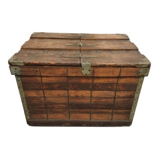 Late 18th Century Antique Wooden and Metal Trunk For Sale