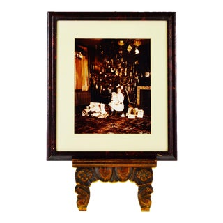Early Framed Photograph of Child at Christmas Tree on Christmas Morning For Sale