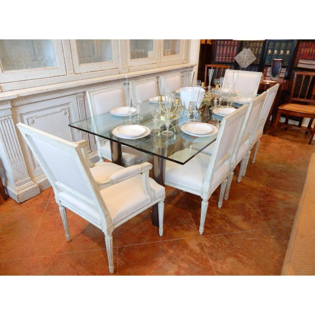 Mid-Century Modern Glass and Metal Dining Table For Sale In New Orleans - Image 6 of 8