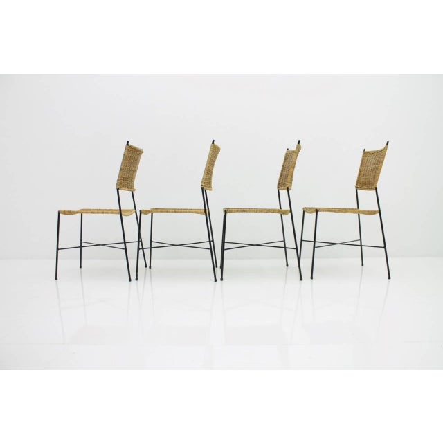 1950s Set of Four Dining Room Chairs in Wicker and Metal, Germany, 1960s For Sale - Image 5 of 12