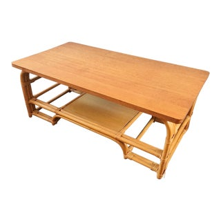 Vintage 1940's Rattan Coffee Table For Sale