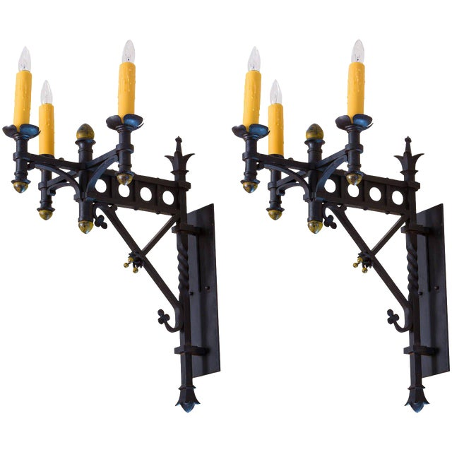 Pair Monumental Iron Neo-Gothic French Sconces, circa 1910 For Sale
