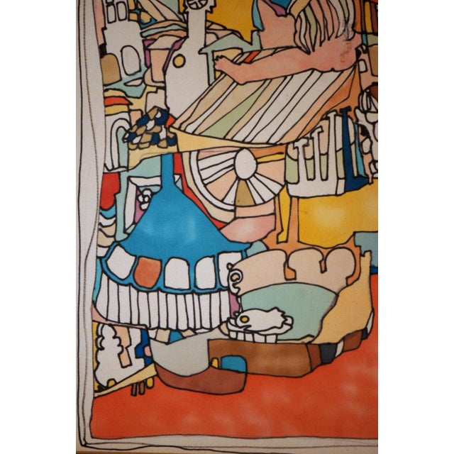 "1960s E. Price Egan ""Brueger Vision"" Framed Pen and Ink Drawing For Sale - Image 5 of 13"