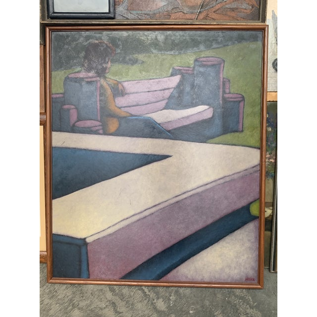 "Abstract 1970s ""Figure Seated on a Park Bench"" Oil Painting, Framed For Sale - Image 3 of 8"