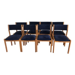 JL Moller Blue Foxall Upholstery & Teak Model Dining Chairs - Set of 8