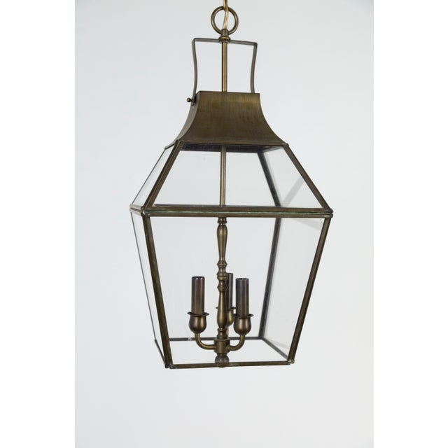 American Vintage Geometric Brass Finished Lantern Pendant Light For Sale - Image 3 of 13