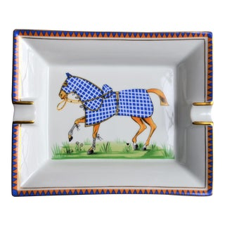 1970s Hermes Porcelain Equestrian Ashtray For Sale