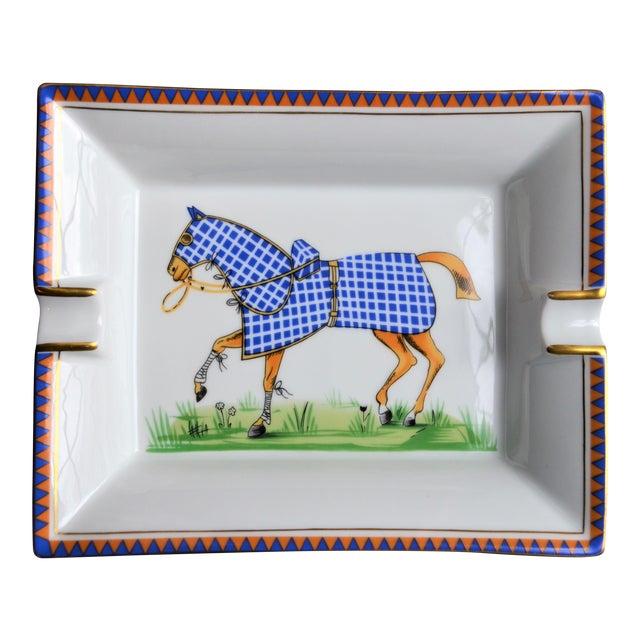 1970s Hermes Porcelain Equestrian Ashtray For Sale