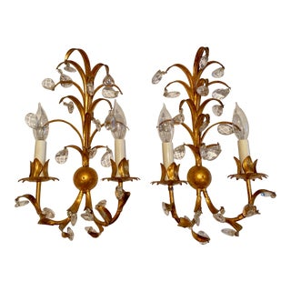 Mid 20th Century Vintage Gilt Italian Tole Sconces With Crystals - a Pair For Sale
