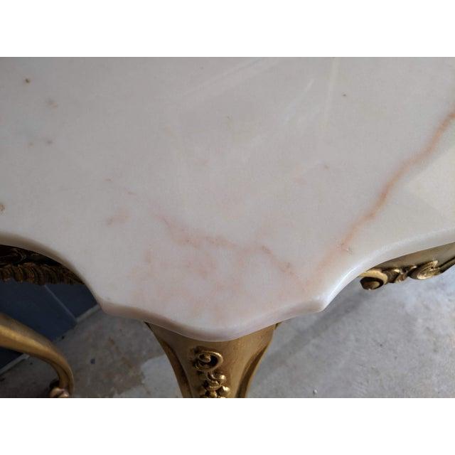 Art Nouveau 1960s Weiman Marble & Gilt Console For Sale - Image 3 of 12