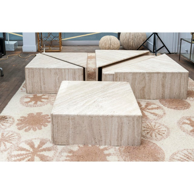 Mid-Century Modern A Large Set of Eight Travertine Elements Forming One or More Coffee Tables For Sale - Image 3 of 11