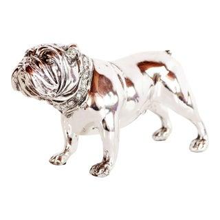 Contemporary Chrome English Bulldog Figurine / Desk Object For Sale