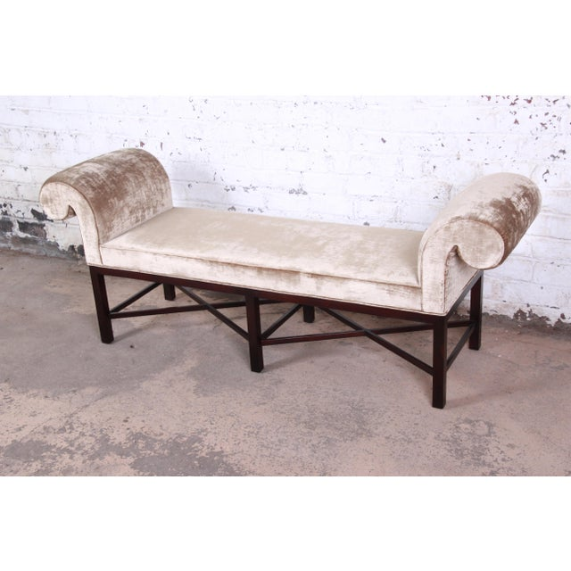 Baker Furniture Mahogany and Velvet Window Bench For Sale In South Bend - Image 6 of 12