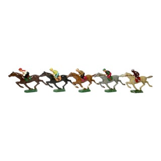 Vintage 1960s Colorful Galloping Jockey Figurines - Set of 5 For Sale