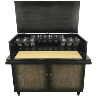 Mid-Century Modern Dry Bar / Cabinet & Glasses - 19 Pieces For Sale