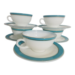 Vintage Pyrex Blue & White Gold Trim Coffee Cups & Saucers - Set of 5