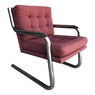 Mid Century Chrome/Steel Cantilever Chair For Sale