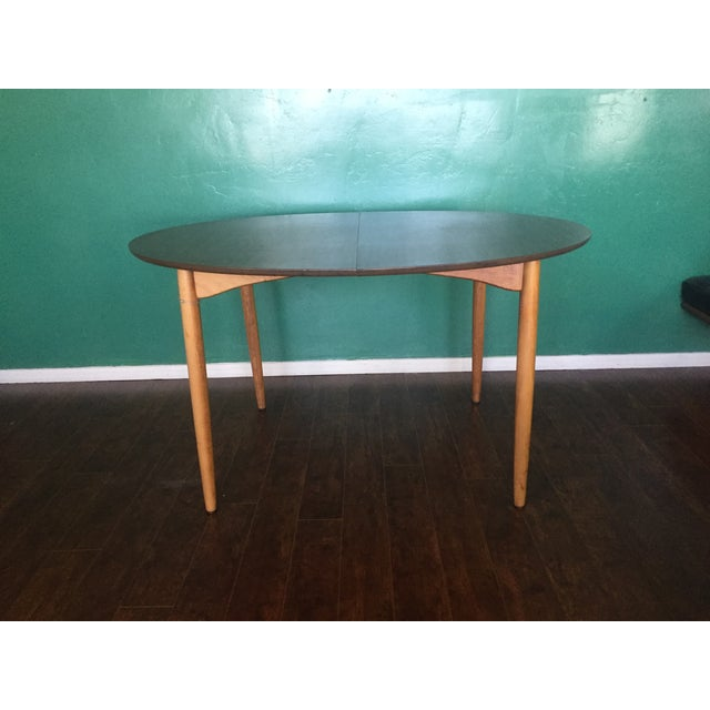 Mid Century Modern Oval Table With Leaf - Image 2 of 11