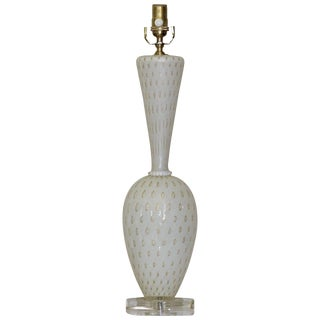 Barbini Murano White and Gold Controlled Bubble Table Lamp For Sale
