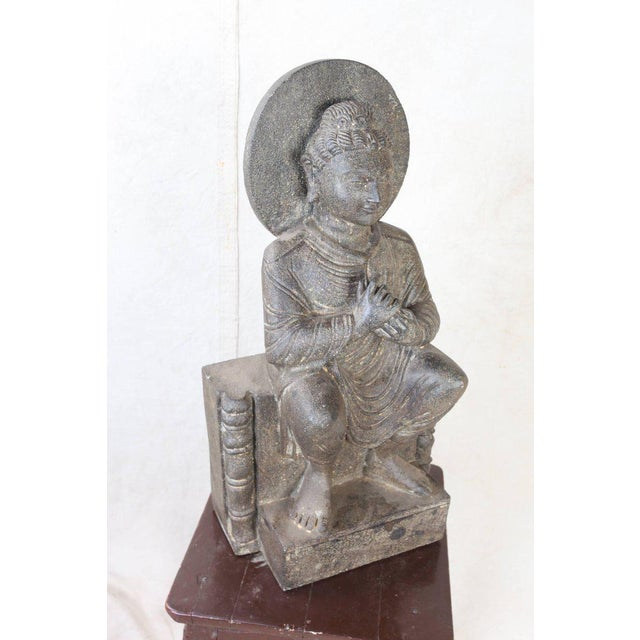 Asian Granite Sitting Buddha, India, Early 1900s For Sale - Image 3 of 10