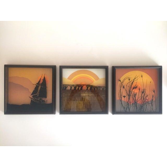 "This set of 3 vintage 1974 Mid Century Modernist Virgil Thrasher "" Lucid Lines "" painted glass 3D shadow box framed art..."