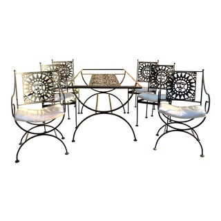 "Arthur Umanoff ""Mayan Collection"" Wrought Iron Sun Dining Patio Set"