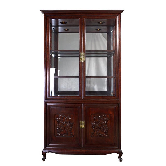 Antique Chinese Carved Rosewood Display/Curio Cabinet For Sale - Image 9 of 9