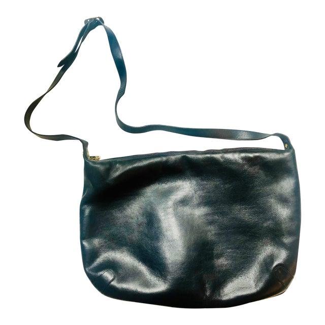 1980s Salvatore Ferragamo Large Navy Leather Hobo Purse For Sale