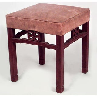 Pair of Asian Chinese Style Square Teak Benches