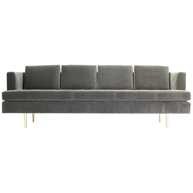 Mid-Century Dunbar Sofa by Edward Wormley in New Velvet Fabric For Sale - Image 9 of 9