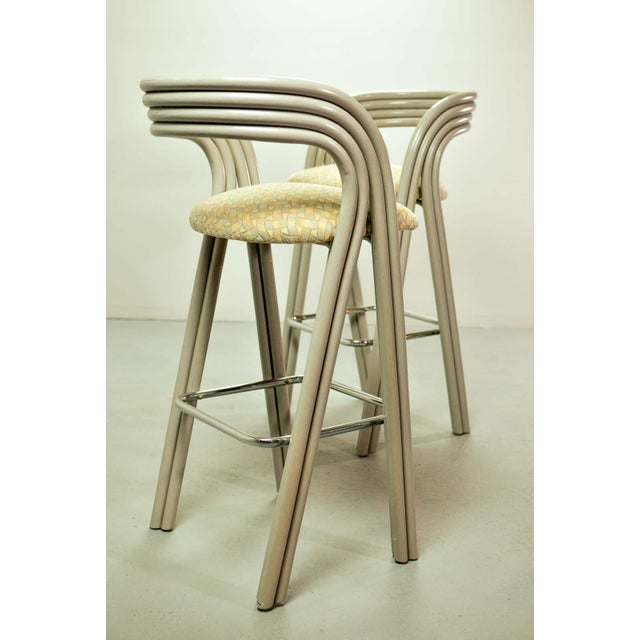 Set of Six Mid-Century Dutch Design Luxurious Bamboo Barstools by Axel Enthoven for Rohé Holland, 1980's For Sale - Image 9 of 13