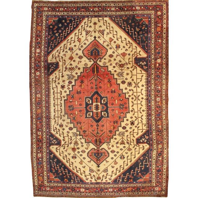 "Islamic Pasargad Semi-Antique Persian Shiraz Afshar Lamb's Wool Rug - 8'3"" X 11'6"" For Sale - Image 3 of 3"