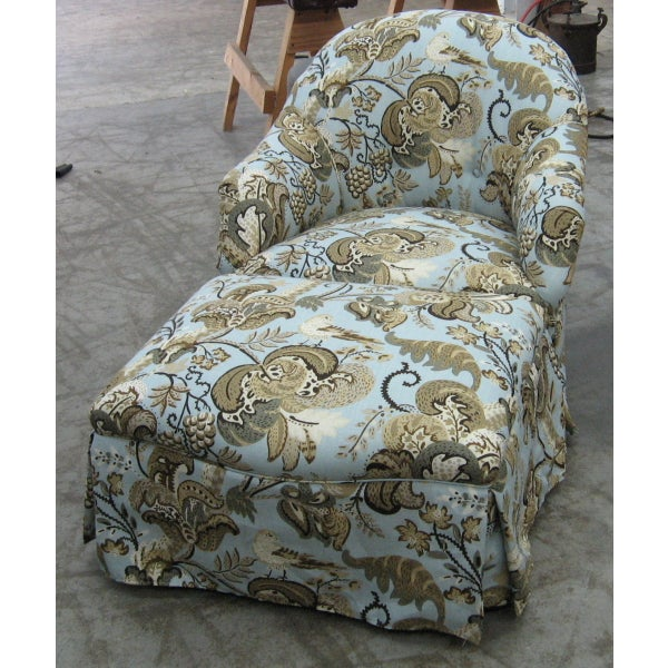 Chair & Ottoman in Schumacher Clarendon Fabric - Image 2 of 6