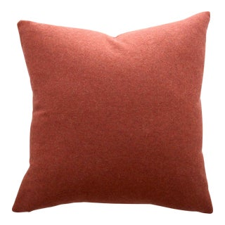 FirmaMenta Italian Solid Orange Sustainable Wool Pillow For Sale