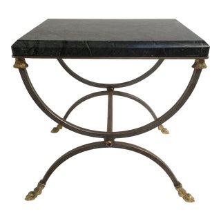 Neoclassical Marble Top Brushed Steel & Gilt Hoofed Feet Side Table For Sale