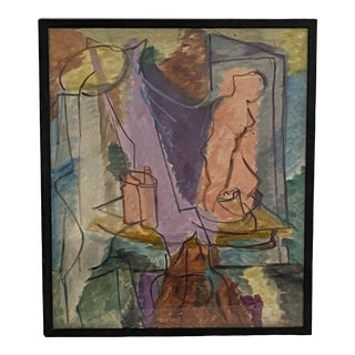 Mid Century Abstract Still Life Interior W/ Figure by E. Archer For Sale